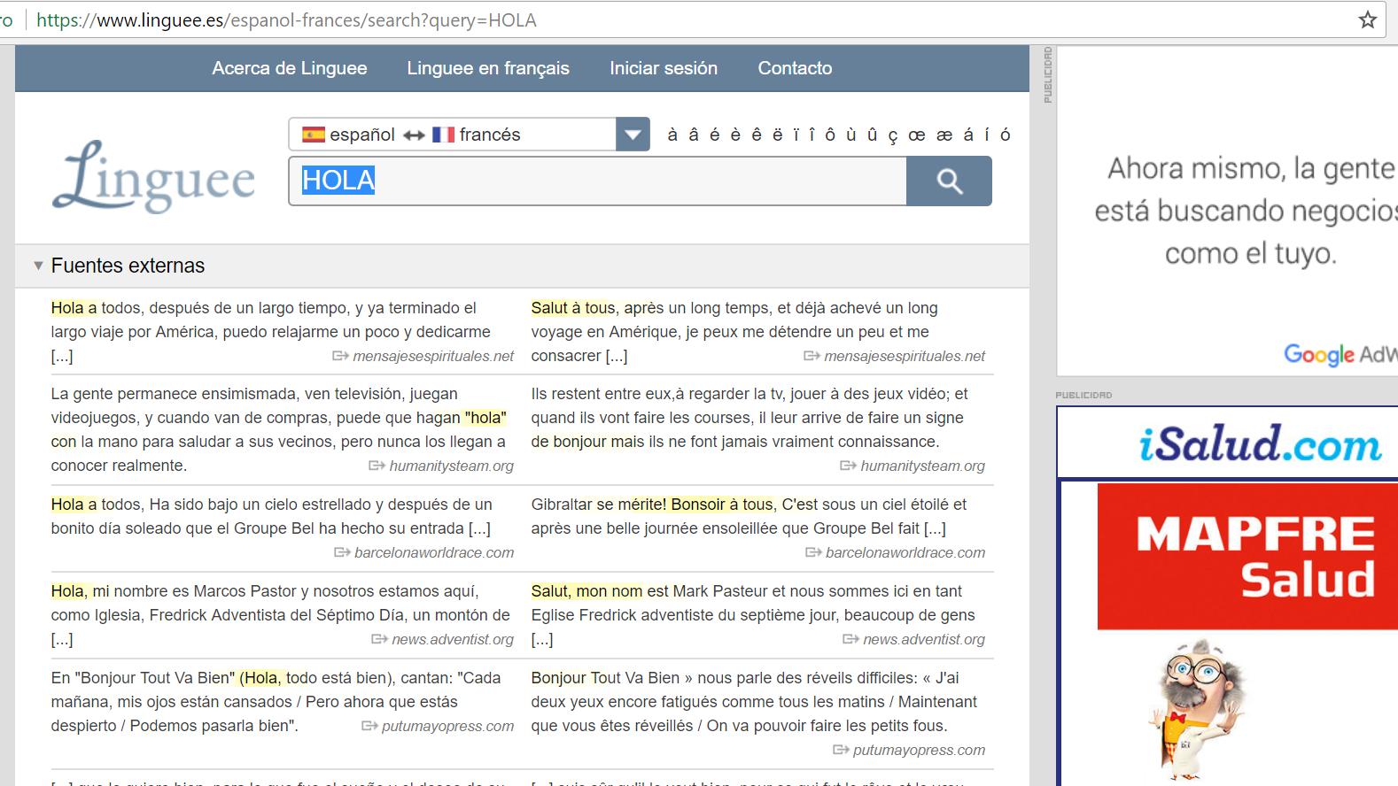 diccionario online y comparador de webs traducidas: linguee