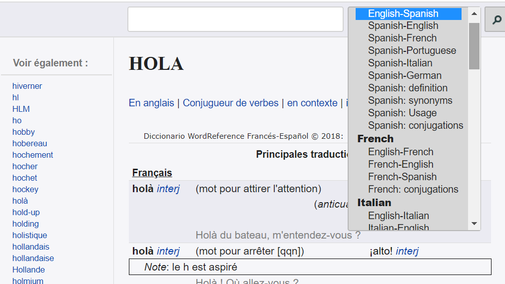 Diccionario multilingüe online: wordreference
