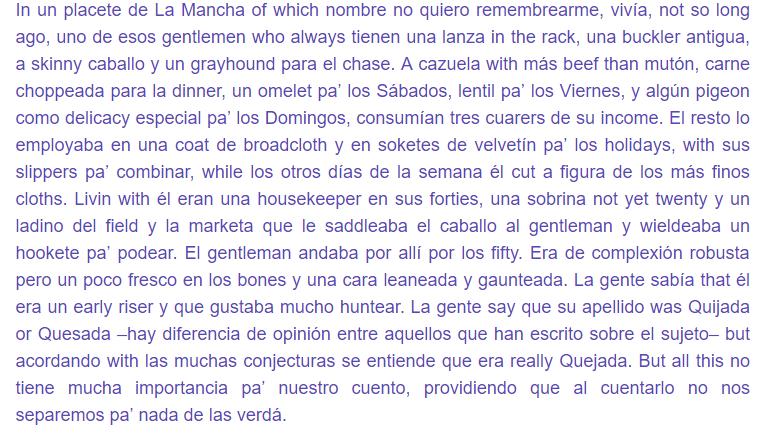 traduccion del quijote al spanglish