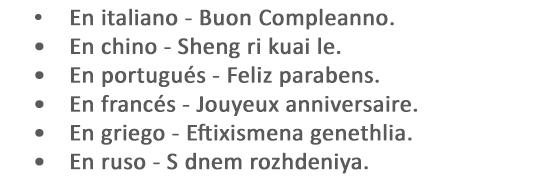 como se dice feliz cumpleaños en todos los idiomas